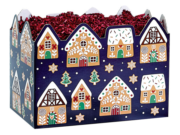 """Gingerbread Cookies Basket Boxes, Large, 10.25x6x7.5"""", 6 Pack"""