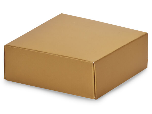 "Metallic Gold Box Lids, 4x4x1.5"", 10 Pack"