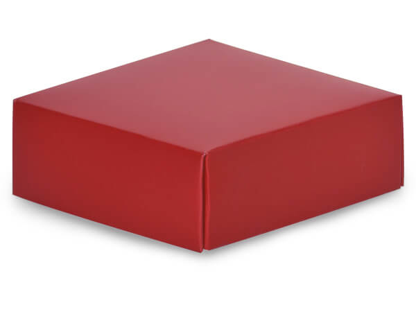 "Matte Red Box Lids, 4x4x1.5"", 10 Pack"