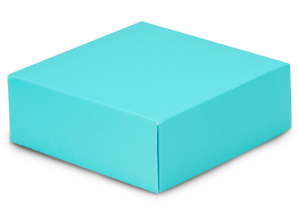 "Matte Turquoise Box Lids, 4x4x1.5"", 25 Pack"