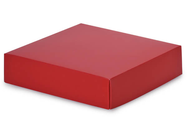 "Matte Red Box Lids, 6x6x1.5"", 10 Pack"