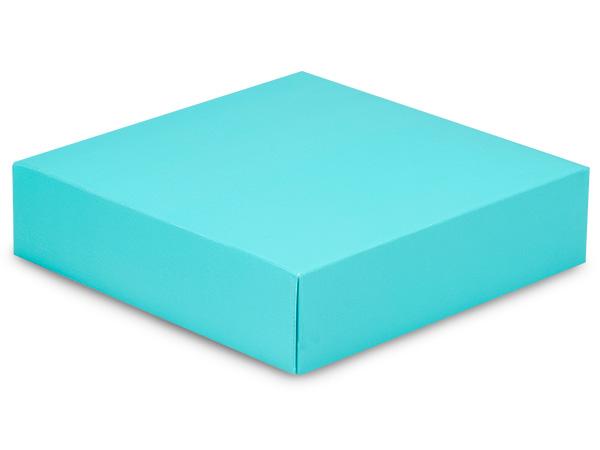 "Matte Turquoise Box Lids, 6x6x1.5"",25 Pack"