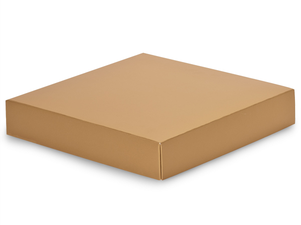 "Metallic Gold Box Lids, 8x8x1.5"", 10 Pack"