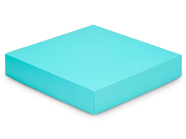 "Matte Turquoise Box Lids, 8x8x1.5"""