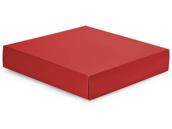 "Matte Red Box Lids, 10x10x2"", 10 Pack"