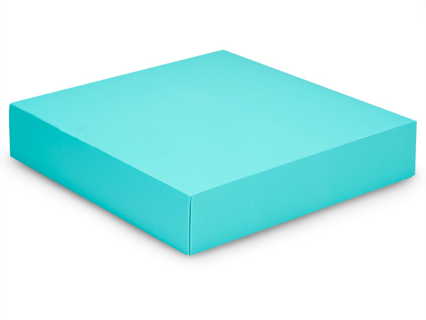 "Matte Turquoise Box Lids, 10x10x2"",25 Pack"