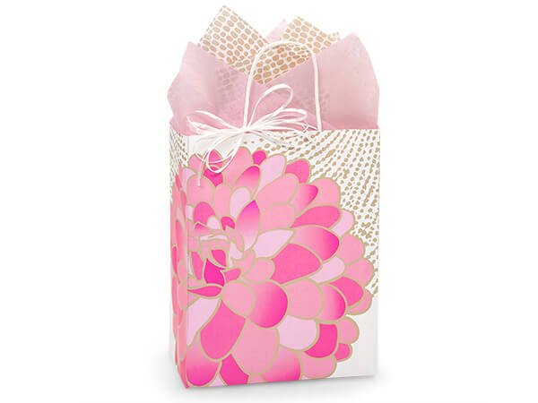 "Gilded Blooms Paper Shopping Bags Cub 8.25x4.75x10.5"", 25 Pack"