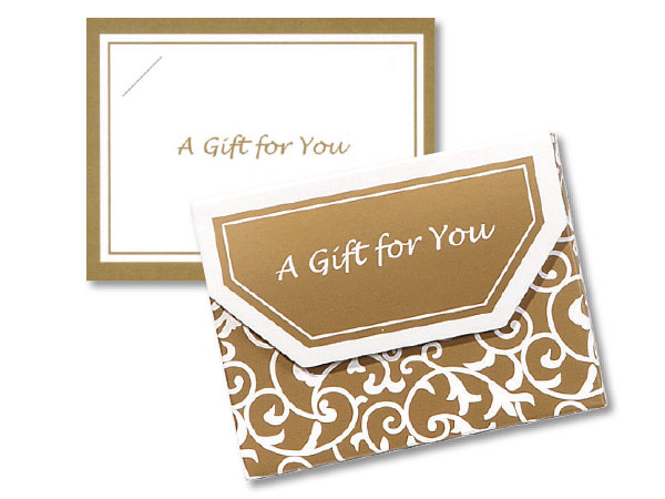 Elegant Gold Scroll Fold Over Gift Card Holder 4-1/2x3-1/2x3/8""