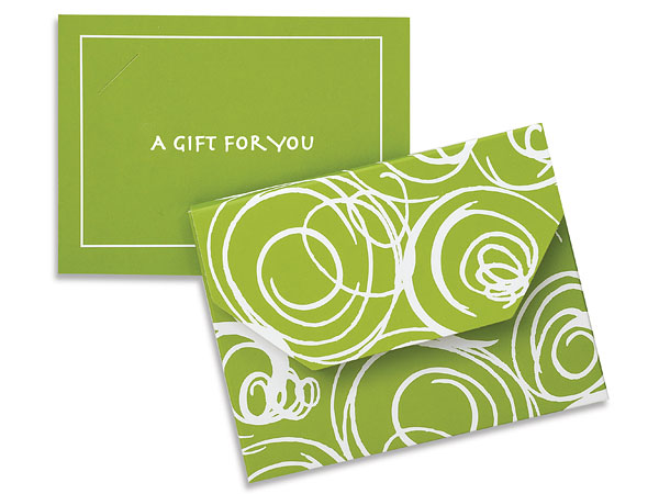 Leaf Green Swirls Fold Over Gift Card Holder 4-1/2x3-1/2x3/8""