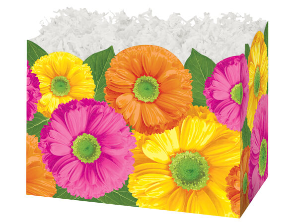 Large Gerber Daisies Basket Boxes 10-1/4x6x7-1/2""