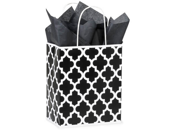 "Black Geo Graphics Recycled Paper Bags, Cub 8x4.75x10.25"", 250 Pack"