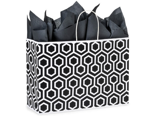 """Black Geo Graphics Recycled Paper Bags, Vogue 16x6x12"""", 250 Pack"""