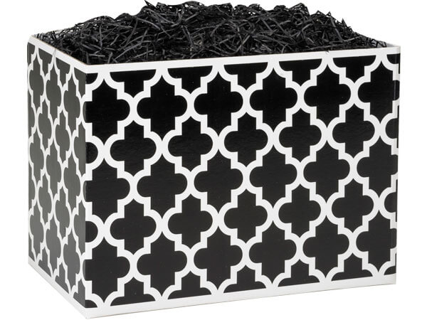 "Large Geo Graphics Black Basket Boxes 10-1/4"" x 6"" x 7-1/2"""