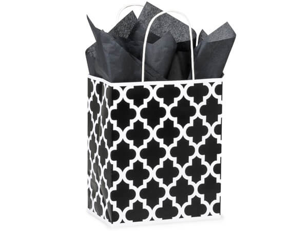 """Black Geo Graphics Recycled Paper Bags, Cub 8x4.75x10.25"""", 25 Pack"""