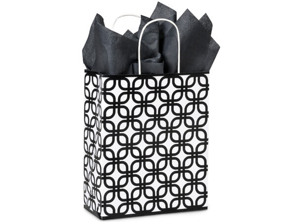 Carrier Black Geo Graphic Recycled Paper Bags 25 Pk 10x5x13""