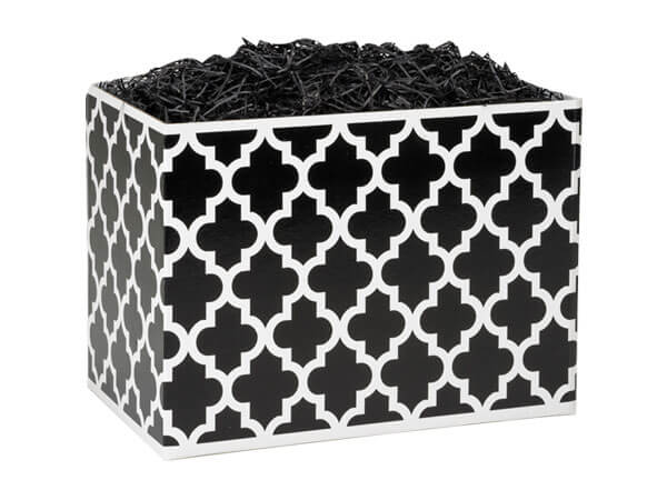 "Small Geo Graphics Black Basket Boxes 6-3/4"" x 4"" x 5"""