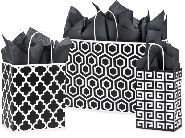 Black Geo Graphics Recycled Paper Bags, Small 25 Pack Assortment