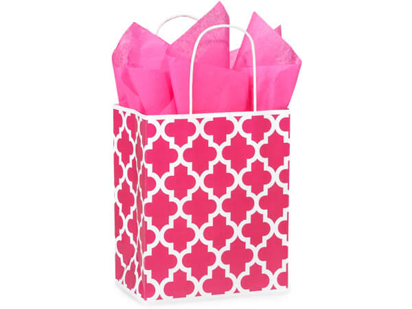 Cub Hot Pink Geo Graphics Recycled Paper Bags 250 8x4-3/4x10-1/4""