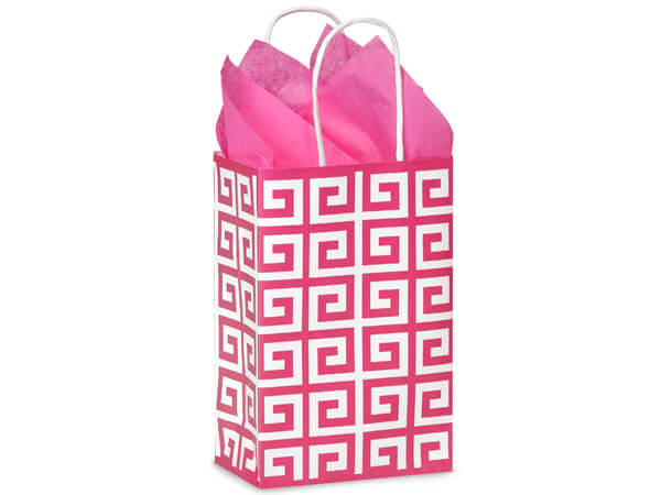 Rose Hot Pink Geo Graphics Recycled Paper Bags 250 5-1/2x3-1/4x8-3/8""