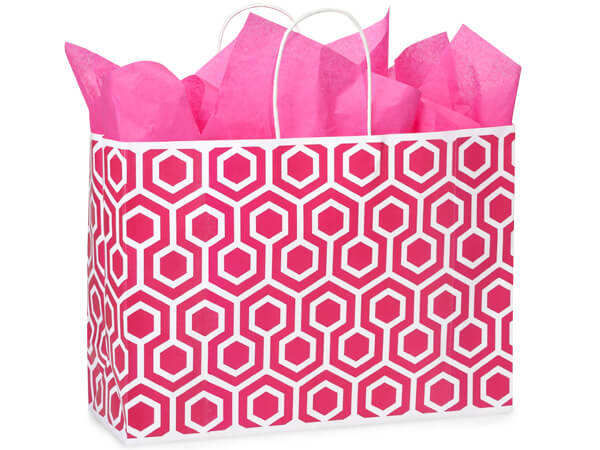 """*Hot Pink Geo Graphics Recycled Bags, Vogue 16x6x12"""", 250 Pack"""