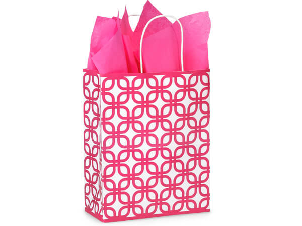 Carrier Hot Pink Geo Graphic Paper Bags 25 Pk 10x5x13""
