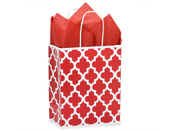 Cub Red Geo Graphics Recycled Paper Bags 250 8x4-3/4x10-1/4""