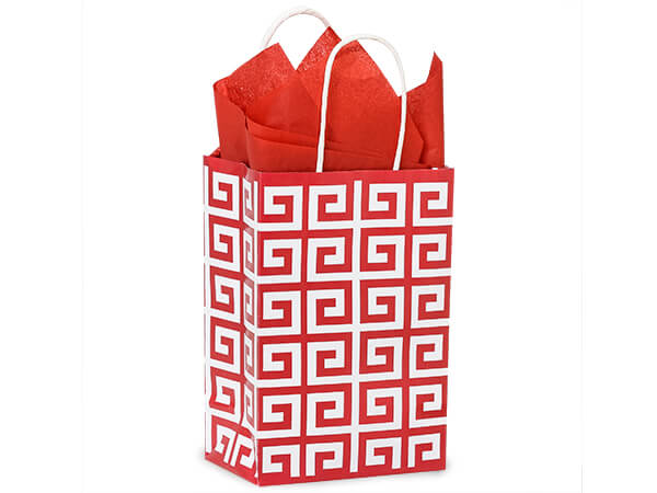 Rose Red Geo Graphics Recycled Paper Bags 250 5-1/2x3-1/4x8-3/8""