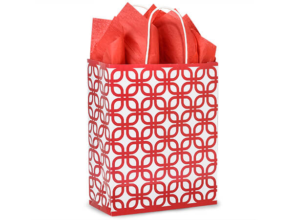 Carrier Red Geo Graphics Recycled Paper Bags 25 Pk 10x5x13""