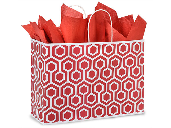 Vogue Red Geo Graphics Recycled Paper Bags 25 Pk 16x6x12""
