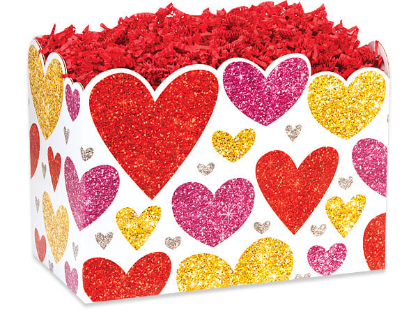"Glittering Hearts Basket Boxes, Large 10.25x6x7.5"", 6 Pack"