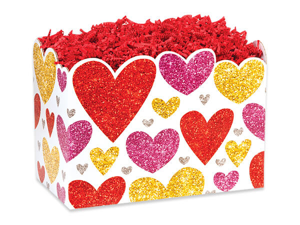 Small Glittering Hearts Basket Box 6-3/4 x 4 x 5""