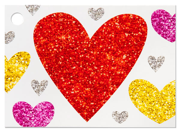 Glittering Hearts Theme Gift Cards 3-3/4 x 2-3/4""
