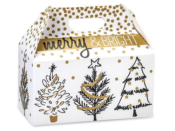 Golden Holiday Trees Gable Boxes