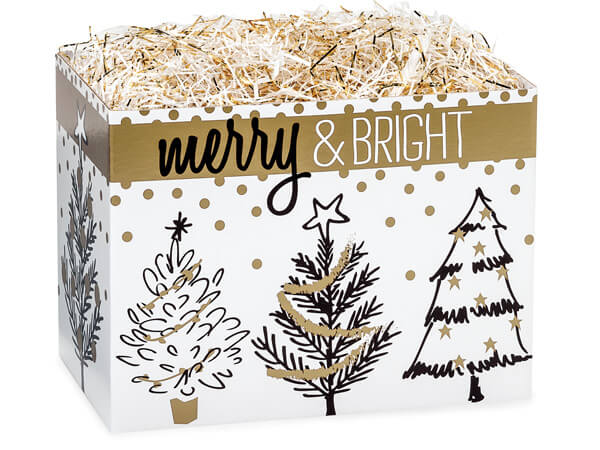 Golden Holiday Trees Basket Boxes