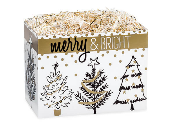 Small Golden Holiday Trees Basket Boxes 6-3/4x4x5""