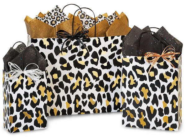 Golden Leopard Paper Shopping Bag Assortment, 125 Pack