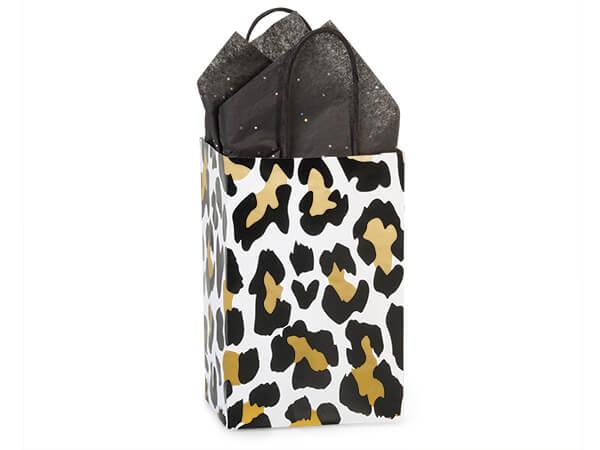 "Golden Leopard Paper Shopping Bags, Rose 5.25x3.5x8.25"", 250 Pack"