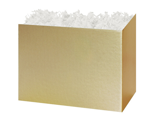 "Medium Solid Metallic Gold Basket Boxes 8-1/4x4-3/4x6-1/4"""