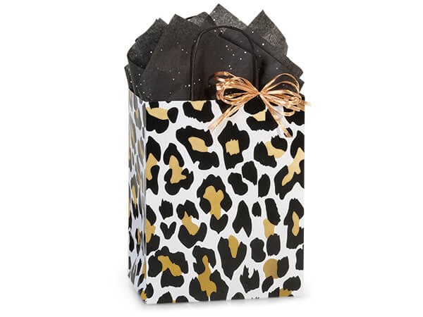 "Golden Leopard Paper Shopping Bags, Cub 8.25x4.75x10.5"", 25 Pack"