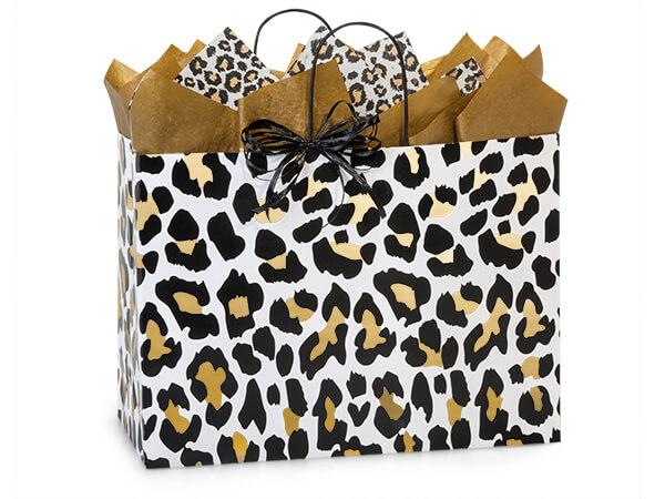 """Golden Leopard Paper Shopping Bags, Vogue 16x6x12.5"""", 25 Pack"""