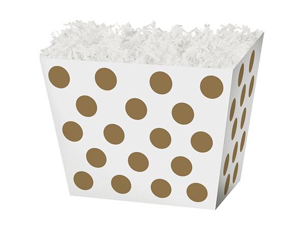 "Small Gold Metallic Dots Angled Basket Box 6-3/4 x 4-1/2 x 5"""