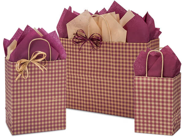 Burgundy Gingham Paper Shopping Bags, Small 25 Pack Assortment