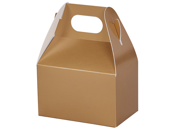 "Metallic Gold Mini Gable Boxes, 4x2.5x2.5"", 6 Pack"