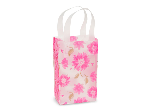 "*Gilded Petals Plastic Gift Bags, Rose 5.25x3.25x8.5"", 250 Pack"