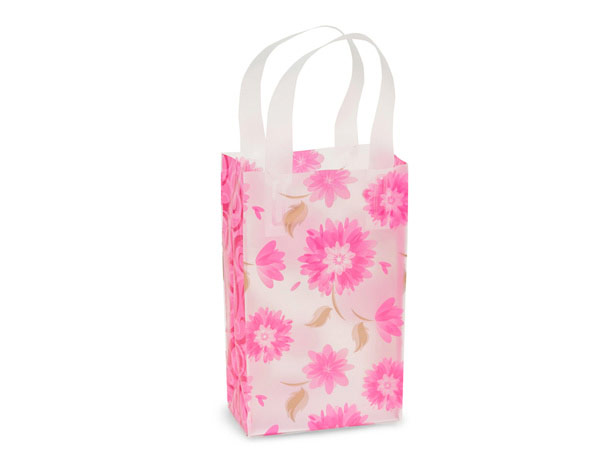 """*Gilded Petals Plastic Gift Bags, Rose 5.25x3.25x8.5"""", 25 Pack"""