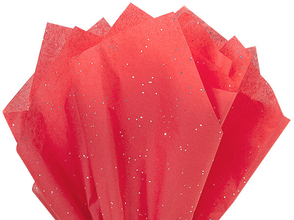 "Ruby Red Glitter Tissue Paper, 20x30"", Bulk 200 Sheet Pack"