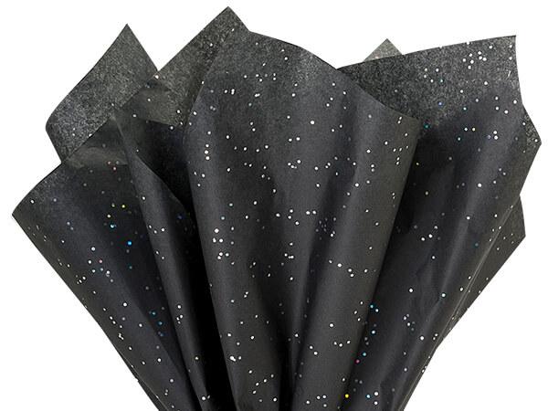 """Black Onyx Glitter Tissue Paper, 20x30"""", Bulk 200 Sheet Pack"""
