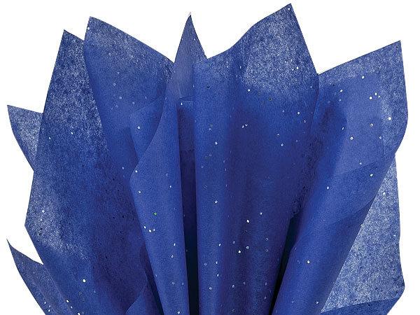 "Blue Sapphire Glitter Tissue Paper, 20x30"", Bulk 200 Sheet Pack"