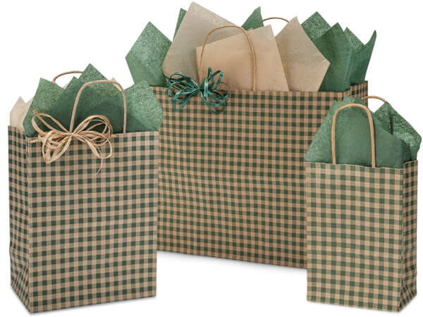 Hunter Gingham Kraft Paper Shopping Bags