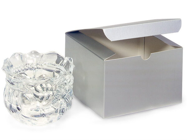 """Silver Gloss Gift Boxes 6x6x4"""""""